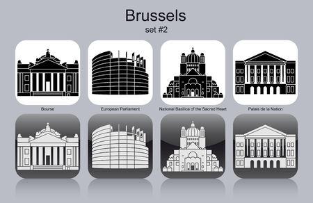 ブリュッセルのランドマーク。モノクロのアイコンのセットです。編集可能なベクトル イラスト。
