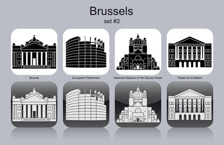 브뤼셀의 랜드 마크. 흑백 아이콘의 집합입니다. 편집 가능한 벡터 일러스트 레이 션.