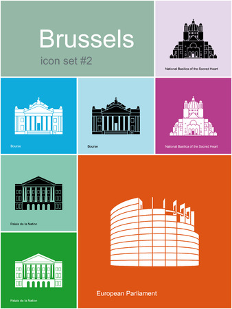 house exchange: Landmarks of Brussels. Set of color icons in Metro style. Editable vector illustration.