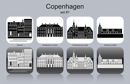 hamlet: Landmarks of Copenhagen. Set of monochrome icons. Editable vector illustration.