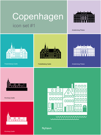 hamlet: Landmarks of Copenhagen. Set of color icons in Metro style. Editable vector illustration.