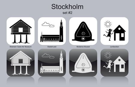 openair: Landmarks of Stockholm. Set of monochrome icons. Editable vector illustration.