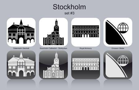 ericsson: Landmarks of Stockholm. Set of monochrome icons. Editable vector illustration.