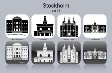 nobel: Landmarks of Stockholm. Set of monochrome icons. Editable vector illustration.