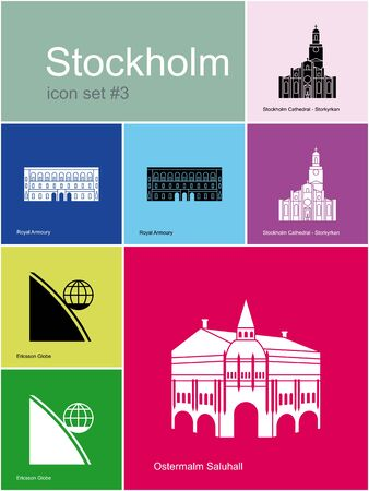 ericsson: Landmarks of Stockholm. Set of color icons in Metro style. Editable vector illustration. Illustration