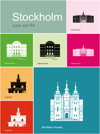 nobel: Landmarks of Stockholm. Set of color icons in Metro style. Editable vector illustration. Illustration