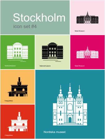 nobel: Monumentos hist�ricos de Estocolmo. Conjunto de iconos de colores en estilo Metro. Ilustraci�n vectorial editable. Vectores