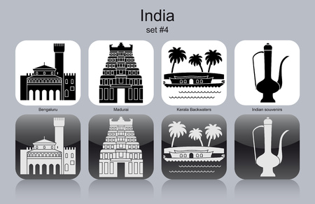 kerala culture: Landmarks of India. Set of monochrome icons. Editable vector illustration.