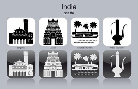 templo: Monumentos hist�ricos de la India. Conjunto de iconos monocrom�ticos. Ilustraci�n vectorial editable.