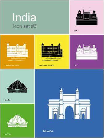india city: Landmarks of India. Set di icone di colore in stile Metro. Illustrazione vettoriale modificabile.