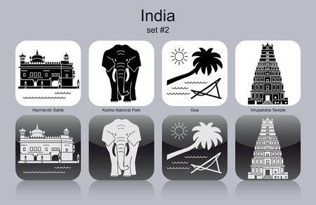 park icon: Landmarks of India. Set of monochrome icons. Editable vector illustration.