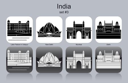 india city: Landmarks of India. Set di icone in bianco e nero. Illustrazione vettoriale modificabile.