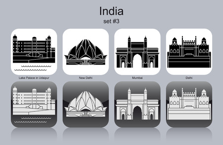 new delhi: Landmarks of India. Set of monochrome icons. Editable vector illustration.