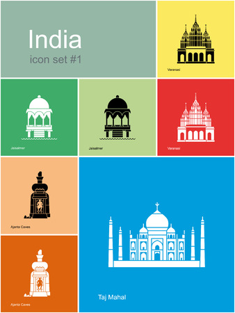india culture: Landmarks of India. Set of color icons in Metro style. Editable vector illustration.