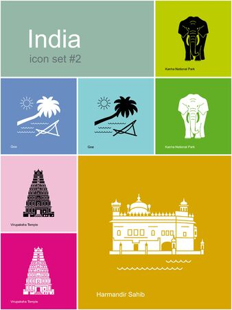 dome of hindu temple: Landmarks of India. Set of color icons in Metro style. Editable vector illustration.