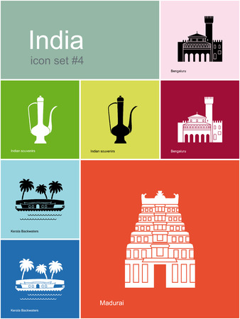 kerala culture: Landmarks of India. Set of color icons in Metro style. Editable vector illustration.