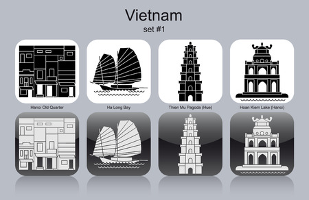 ha: Landmarks of Vietnam. Set of monochrome icons. Editable vector illustration.