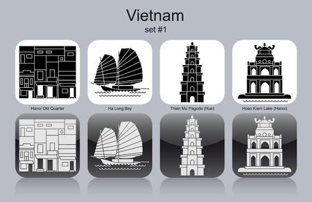 lake district: Landmarks of Vietnam. Set of monochrome icons. Editable vector illustration.