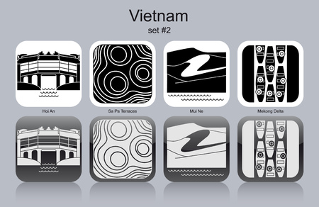 Landmarks of Vietnam. Set of monochrome icons. Editable vector illustration. 版權商用圖片 - 39284182