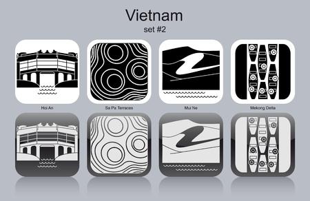 sand asia: Landmarks of Vietnam. Set of monochrome icons. Editable vector illustration.