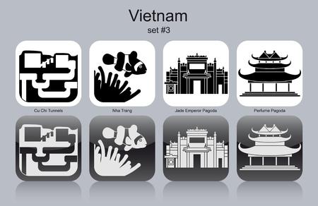vietnam war: Landmarks of Vietnam. Set of monochrome icons. Editable vector illustration.