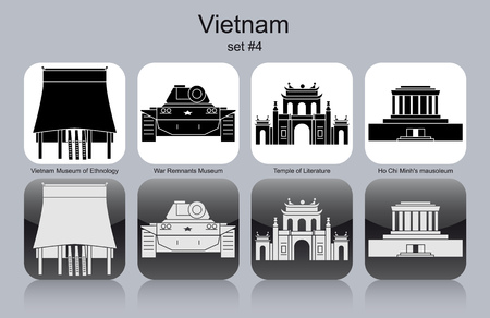 vietnam war: Landmarks of Vietnam. Set of monochrome icons. Editable vector illustration.