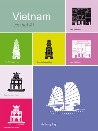 lake district: Landmarks of Vietnam. Set of color icons in Metro style. Editable vector illustration.