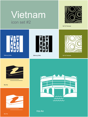 ne: Landmarks of Vietnam. Set of color icons in Metro style. Editable vector illustration.