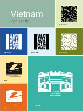 ne: Landmarks of Vietnam. Set of color icons in Metro style. Editable vector illustration.