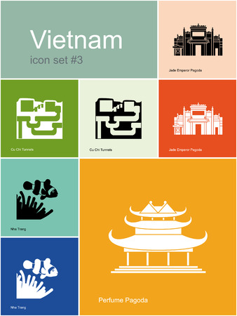 vietnam war: Landmarks of Vietnam. Set of color icons in Metro style. Editable vector illustration.