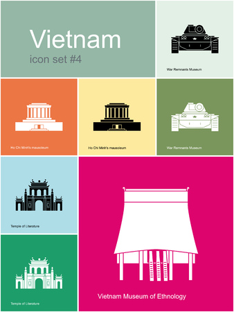 vietnam war: Landmarks of Vietnam. Set of color icons in Metro style. Editable vector illustration.