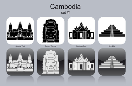 dome of hindu temple: Landmarks of Cambodia. Set of monochrome icons. Editable vector illustration.