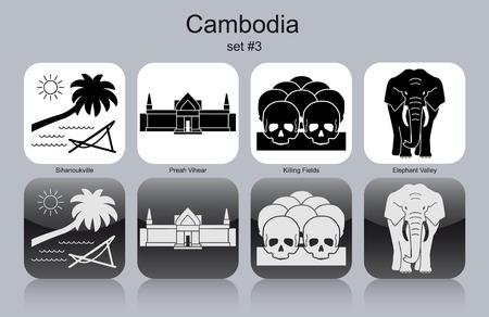 Landmarks of Cambodia. Set of monochrome icons. Editable vector illustration.