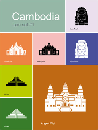 Landmarks of Cambodia. Set of color icons in Metro style. Editable vector illustration. Иллюстрация