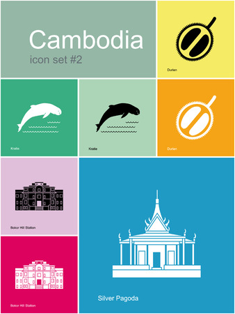 ghost town: Landmarks of Cambodia. Set of color icons in Metro style. Editable vector illustration. Illustration