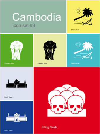 genocide: Landmarks of Cambodia. Set of color icons in Metro style. Editable vector illustration. Illustration