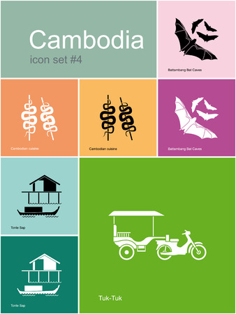 stilt: Landmarks of Cambodia. Set of color icons in Metro style. Editable vector illustration. Illustration