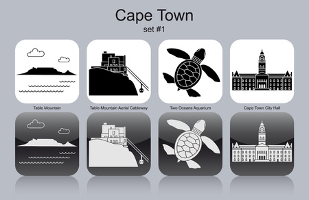 Landmarks of Cape Town. Set of monochrome icons. Editable vector illustration. Иллюстрация