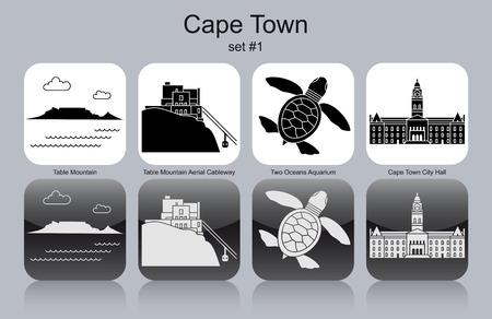 montagna: Punti di riferimento di Città del Capo. Set di icone in bianco e nero. Illustrazione vettoriale modificabile.