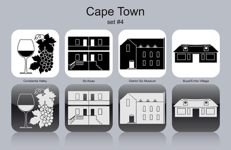 african village: Landmarks of Cape Town. Set of monochrome icons. Editable vector illustration. Illustration