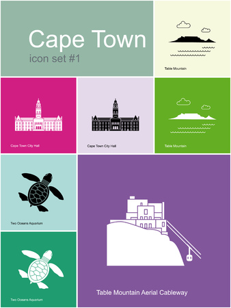 table: Landmarks of Cape Town. Set of color icons in Metro style. Editable vector illustration.