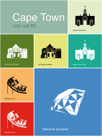 Landmarks of Cape Town. Set of color icons in Metro style. Editable vector illustration.
