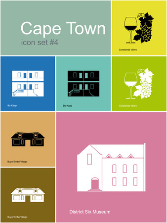 cape town: Landmarks of Cape Town. Set of color icons in Metro style. Editable vector illustration.