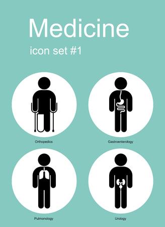 pulmonology: Medical icon set. Editable vector illustration.