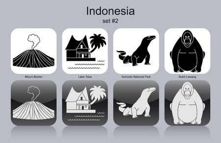 national parks: Landmarks of Indonesia. Set of monochrome icons. Editable vector illustration. Illustration