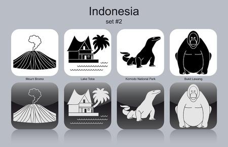 Landmarks of Indonesia. Set of monochrome icons. Editable vector illustration. Illustration