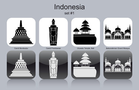Landmarks of Indonesia. Set of monochrome icons. Editable vector illustration. Иллюстрация