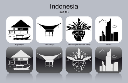 monument valley: Landmarks of Indonesia. Set of monochrome icons. Editable vector illustration. Illustration