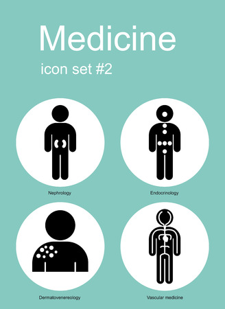 endocrinology: Medical icon set. Editable vector illustration.