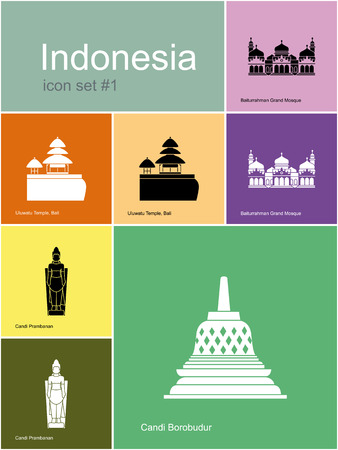 stupa: Landmarks of Indonesia. Set of color icons in Metro style. Editable vector illustration.